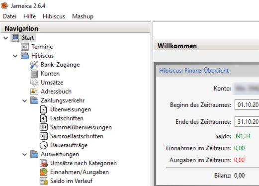 Homebanking - Hibiscus Onlinebanking Software